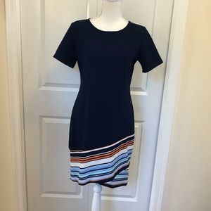 MSK Navy Blue Short Sleeve Shift Dress